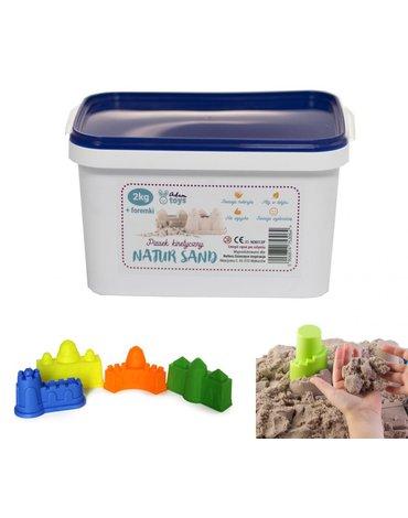 Nefere zabawki piasek - Piasek kinetyczny 2 kg NaturSand z foremkami - polski piasek