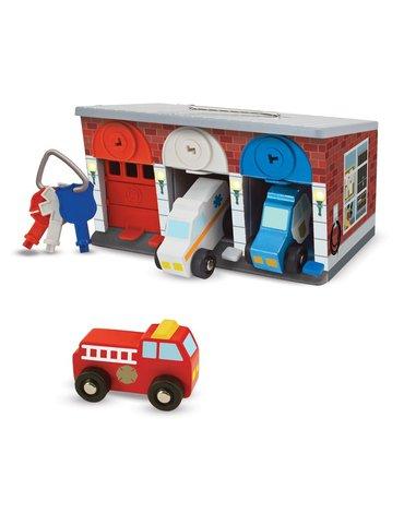 Melissa&Doug® - Garaż z kluczykami i pojazdami specjalnymi