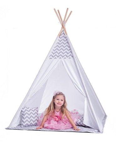 Woody - Duży namiot tipi biało-szary z poduszkami