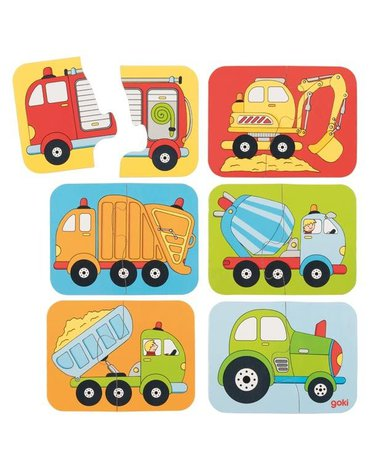 Goki® - Puzzle małe pojazdy - zestaw 6 sztuk