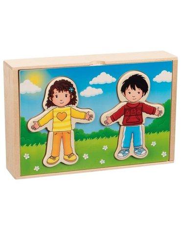 Goki® - Drewniana układanka ubierz chłopca i dziewczynkę