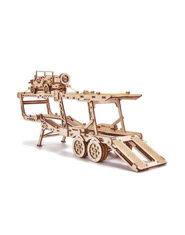 Wood Trick - Laweta puzzle 3D - naczepa do Big truck z jeepem
