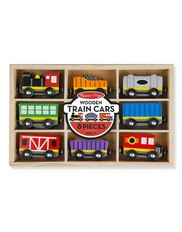 Melissa&Doug® - Drewniany pociąg z wagonikami w skrzynce