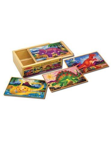 Melissa&Doug® - Drewniane puzzle – zestaw 4 obrazków – Dinozaury
