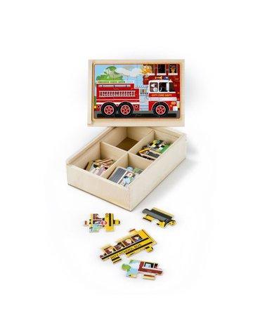 Melissa&Doug® - Drewniane puzzle – zestaw 4 obrazków – pojazdy