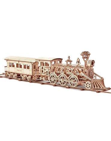 Wood Trick - Mechaniczne puzzle 3D – Duża lokomotywa R17 z wagonem i torami