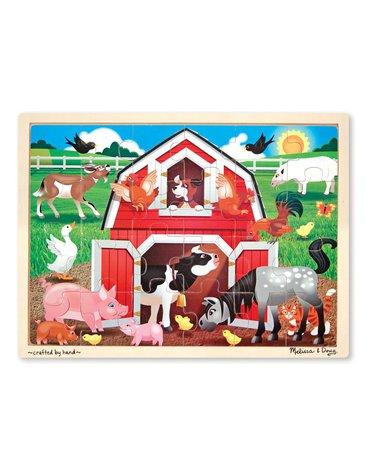 Melissa&Doug® - Duże drewniane puzzle – Zwierzęta w oborze – 24el.
