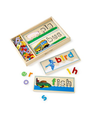 Melissa&Doug® - Ułóż i przeliteruj – Drewniana układanka z alfabetem