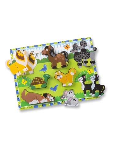 Melissa&Doug® - Duże puzzle 3d drewniana układanka – Domowe zwierzęta