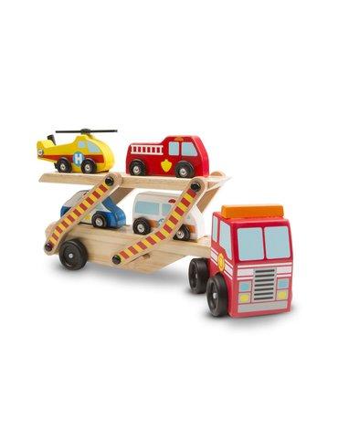 Melissa&Doug® - Ciężarówka z pojazdami ratunkowymi