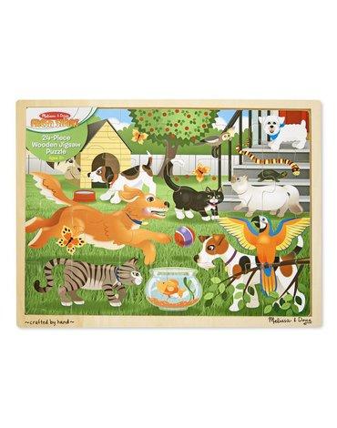 Melissa&Doug® - Duże drewniane puzzle – Zwierzęta domowe - 24 el.