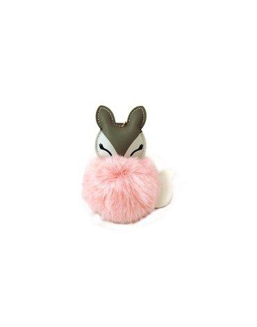 AdamToys - Brelok z pomponem różowy lisek
