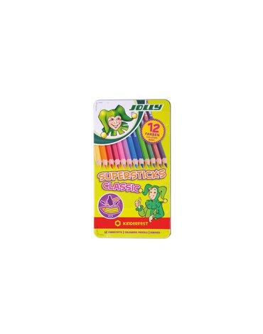 Jolly - Kredki Supersticks 12 kolorów w metalowym pudełku