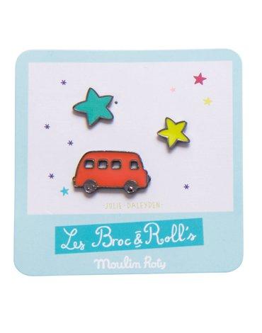 Moulin Roty - Zestaw 3 przypinek - Czerwona Ciężarówka 642766