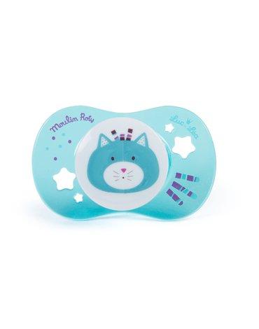 Moulin Roty - Smoczek dla dzieci 0-6 m-c niebieski kotek 660150