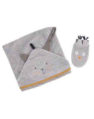 Moulin Roty - Szary ręcznik z myjką LES MOUSTACHES 666270