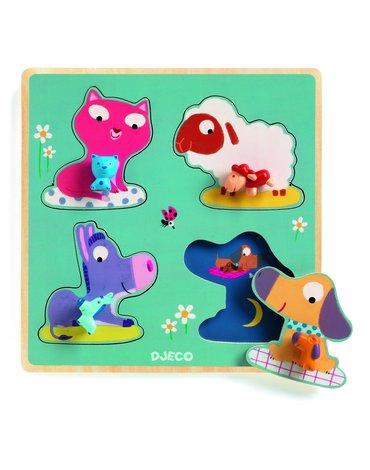 Djeco - Drewniane puzzle Mamifarm  DJ01053