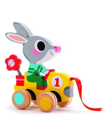 Djeco - Drewniana zabawka do ciągnięcia królik DJ06225