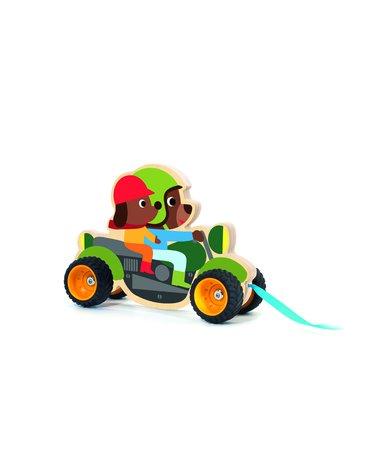 Djeco - Drewniana zabawka do ciągnięcia Terreno bike DJ06240