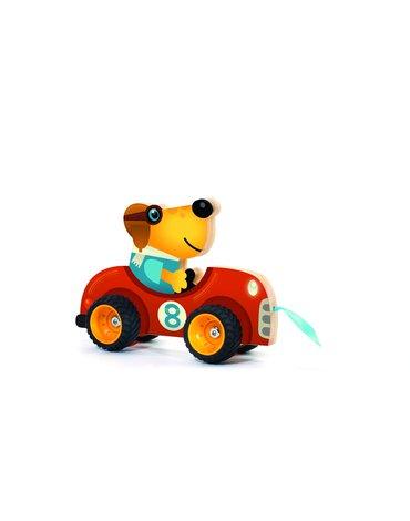 Djeco - Drewniana zabawka do ciągnięcia Terreno car DJ06241