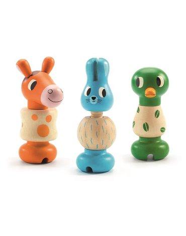 Djeco - Zestaw drewnianych zwierzątek do skręcania DJ06312