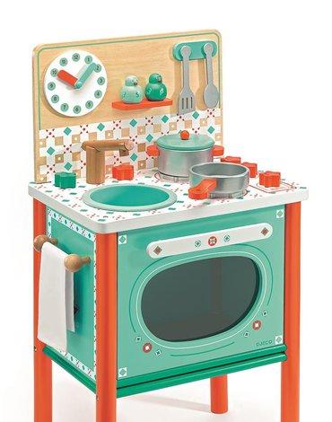 Djeco - Drewniana kuchenka zielona LEO DJ06626
