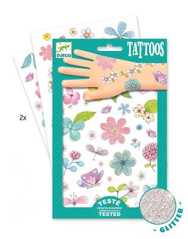 Djeco - Tatuaże brokatowe KWIATY DJ09585