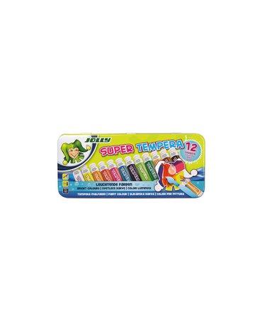 Jolly - Farba tempera 12 kolorów w metalowym pudełku