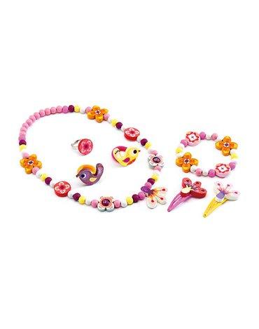 Djeco - Zestaw biżuterii drewnianej KWIATY DJ06570