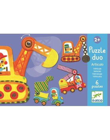 Djeco - Puzzle tekturowe dwuelementowe POJAZDY DJ08170