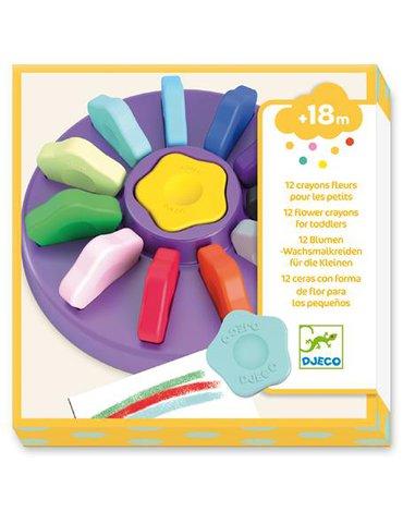 Djeco - 12 kwiatowych kredek dla maluchów DJ09005