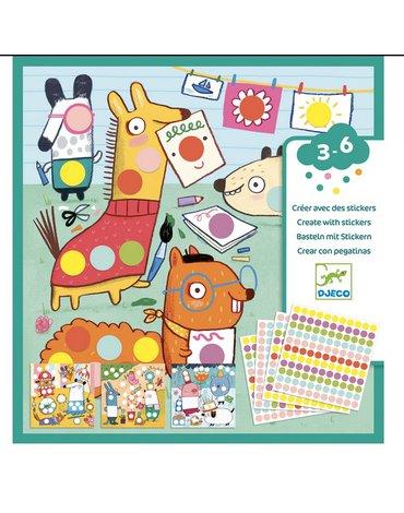 Djeco - Zestaw art. z naklejkami KOLOROWE KROPKI  DJ09044