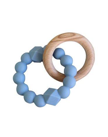 Jellystone Designs - Gryzak dla dziecka, drewno i silikon, niebieski, Jellystone Design