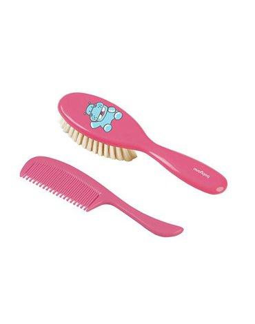 BABYONO - 568 Szczotka i grzebień do włosów dla dzieci i niemowląt. Naturalne super miękkie włosie RÓŻOWA