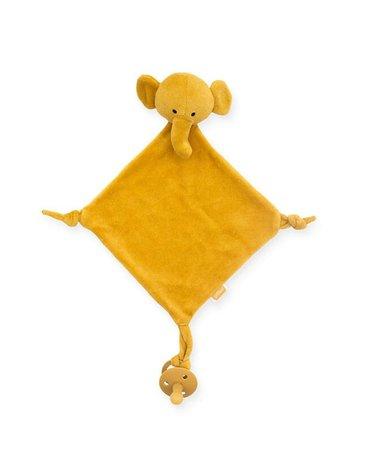 Jollein - Baby & Kids - Jollein - przytulanka dou dou z zawieszką na smoczek Elephant Mustard