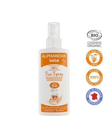 Alphanova Bebe Przeciwsłoneczny Spray o wysokim filtrze SPF 50, 125g