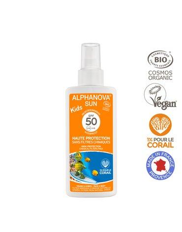 Alphanova Sun KIDS, Bio Spray Przeciwsłoneczny, filtr 50, 125g