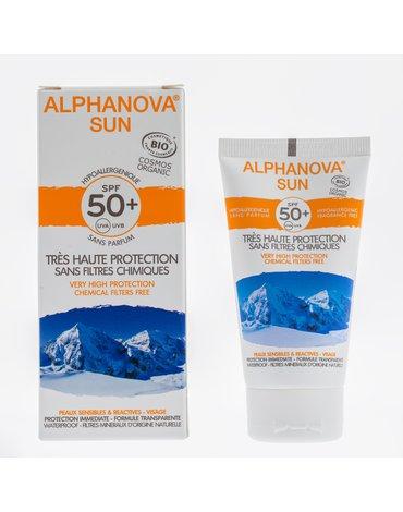 Alphanova Sun BIO Krem przeciwsłoneczny, hipoalergiczny, wodoodporny, filtr SPF50, 50g