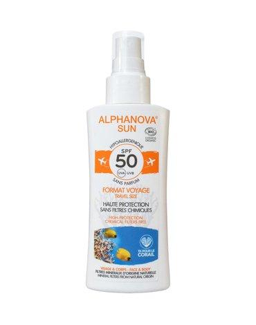 Alphanova Sun, Spray z filtrem SPF50, wersja podróżna, 90g