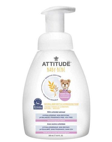 Attitude, Sensitive Skin Baby, Naturalna piana mydlana do mycia butelek i naczyń dla niemowląt, Bezzapachowa, 295 ml