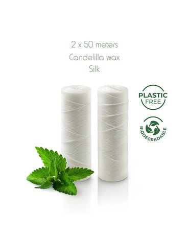 BAMBAW, Biodegradowalna nić dentystyczna o smaku świeżej mięty, 2x50m