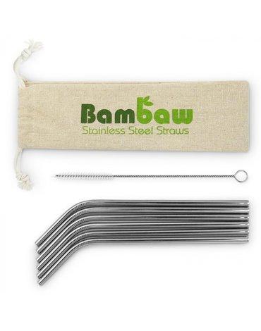BAMBAW, Słomki ze stali nierdzewnej wraz ze szczoteczką do czyszczenia, 22cm x 6 szt.