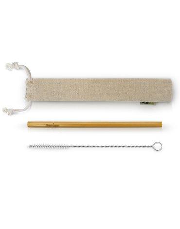 BAMBAW, Zestawy ze Słomką bambusową wraz ze szczoteczką do czyszczenia w bawełnianym woreczku, 25 szt.