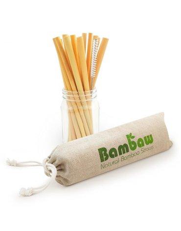 BAMBAW, Ekologiczne słomki bambusowe wraz ze szczoteczką do czyszczenia, 14 cm x 12 szt.