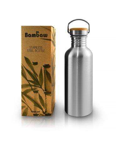 BAMBAW, Butelka ze stali nierdzewnej z bambusową nakretką, 1000ml