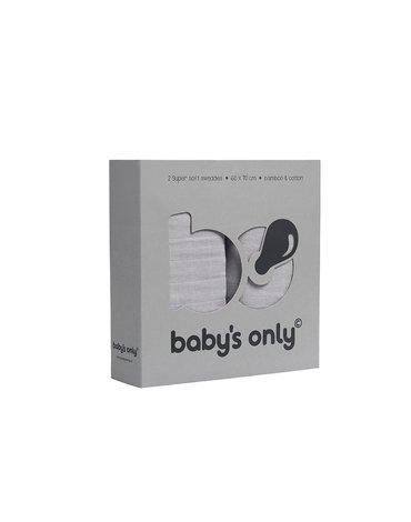 Baby's Only, PROMOCJA -50%, Otulacze bambusowe, silvergrey, 60x70cm, 2 szt., WYPRZEDAŻ -50%