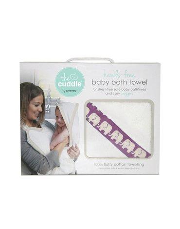 CUDDLEDRY - The Cuddle, Bawełniany ręcznik fartuch, biały/różowe słoniki