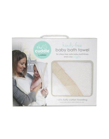 CUDDLEDRY - The Cuddle, Bawełniany ręcznik fartuch, biały/piaskowiec wzory geometryczne