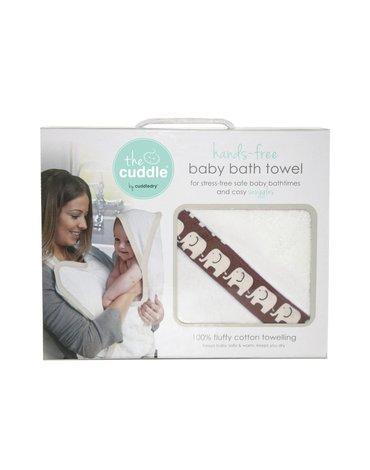 CUDDLEDRY - The Cuddle, PROMOCJA -20%, Bawełniany ręcznik fartuch, biały/brązowe słoniki OSTATNI RAZ W OFERCIE