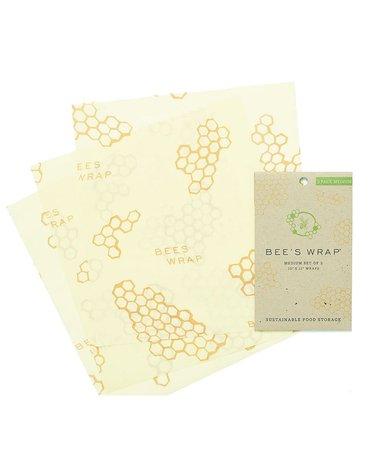 Bee's Wrap, Woskowana organiczna bawełna do zawijania, 3 szt., rozm. M 25 x 27,5 cm